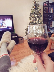 Christmas Decorating Break Time Wine and Movies Christmas Tree Red Wine Ornament Xmas | Amanda Kayla Liberty Blog