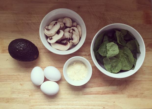 Breakfast Omelette Spinach Mushroom Avocado Eggs Cheese Vegetarian Healthy Eating Recipe